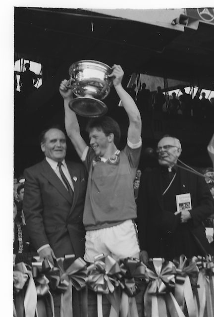 The Kerry captain receiving the Sam Maguire Cup after the All Ireland Senior Gaelic Football Championship Final Kerry v Dublin at Croke Park on the 22nd September 1985. Kerry 2-12 Dublin 2-08.
