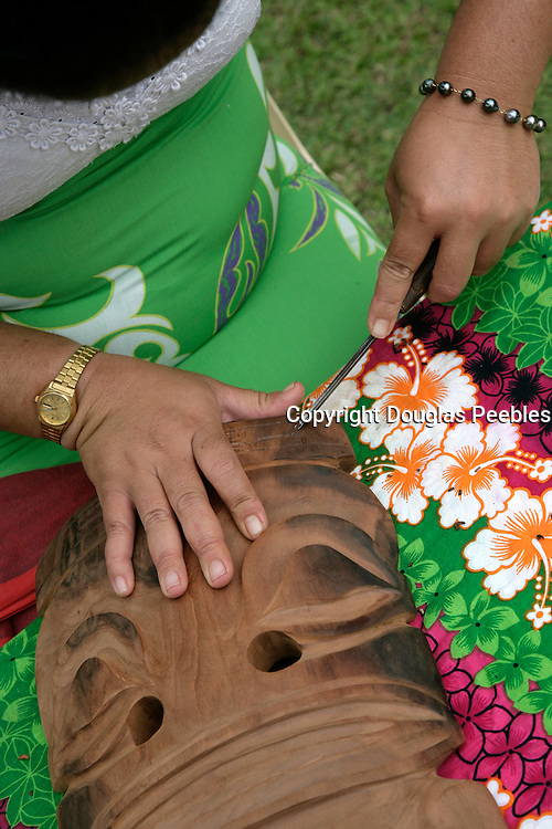 Carving tiki, Hanavave, Island of Fatu Hiva, Marquesas Islands, French Polynesia<br />
