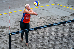 Raïsa Schoon in action during the first day of the beach volleyball event King of the Court at Jaarbeursplein on September 9, 2020 in Utrecht.