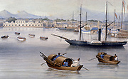 Shanghai harbour c1875. From a watercolour.  Shanghai was one of the Treaty Ports established in 1842 for British traders after China's defeat in the first Opium War (1839-1842).    One of the vessels anchored in the habrour is a paddle steamer.