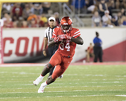 September 16, 2017 - Houston, TX, USA - Houston Cougars running back Mulbah Car (34) carries the ball during the second quarter of the college football game between the Houston Cougars and the Rice Owls at TDECU Stadium in Houston, Texas. (Credit Image: © Scott W. Coleman via ZUMA Wire)