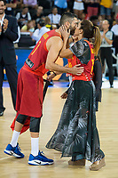 Spain's Juan Carlos Navarro with his wife during receive the congratulations for the player with more games with the national team friendly match for the preparation for Eurobasket 2017 between Spain and Venezuela at Madrid Arena in Madrid, Spain August 15, 2017. (ALTERPHOTOS/Borja B.Hojas)