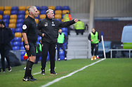 AFC Wimbledon manager Glyn Hodges pointing during the EFL Sky Bet League 1 match between AFC Wimbledon and Milton Keynes Dons at Plough Lane, London, United Kingdom on 30 January 2021.