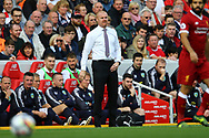 Burnley Manager Sean Dyche looks on from the touchline. Premier League match, Liverpool v Burnley at the Anfield stadium in Liverpool, Merseyside on Saturday 16th September 2017.<br /> pic by Chris Stading, Andrew Orchard sports photography.