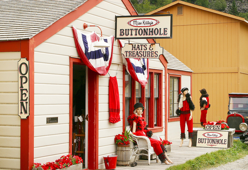 USA, Alaska,Skagway, Miss Kitty's Buttonhole is one of the many interesting shops open for tourists in downtown Skagway.