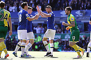 Kevin Mirallas of Everton (r) celebrates with his teammates after scoring his teams 3rd goal. Barclays Premier League match, Everton v Norwich City at Goodison Park in Liverpool on Sunday 15th May 2016.<br /> pic by Chris Stading, Andrew Orchard sports photography.