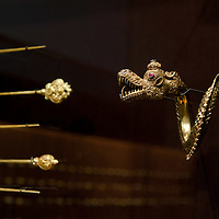 Dragon shaped golden bracelet displayed in the Southeast Gold Museum that presents hundreds of golden artifacts from the private collection of founder Istvan Zelnik in Budapest, Hungary on September 15, 2011. ATTILA VOLGYI