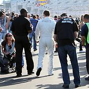 Trevor Bayne, driver of the Motorcraft/Quick Lane Ford, as seen without sponsor logos prior to his win of the Daytona 500 Sprint Cup race at Daytona International Speedway on February 18, 2011 in Daytona Beach, Florida. (AP Photo/Alex Menendez)