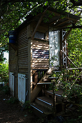 Sipson, UK. 5th June, 2018. A toilet using sawdust is pictured at Grow Heathrow. Grow Heathrow is a squatted off-grid eco-community garden founded in 2010 on a previously derelict site close to Heathrow airport to rally support against government plans for a third runway and it has since made a significant educational and spiritual contribution to life in the Heathrow villages, which remain threatened by Heathrow airport expansion.