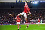Kieffer Moore of Barnsley (19) scores a goal and celebrates to make the score 2-0 during the EFL Sky Bet League 1 match between Barnsley and Bradford City at Oakwell, Barnsley, England on 12 January 2019.