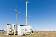 Yagi radio antennas on rural telephone exchange in Gin Gin , Queensland Australia. <br /> <br /> Editions:- Open Edition Print / Stock Image