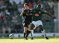 Photo: Lee Earle.<br /> Plymouth Argyle v Cardiff City. Coca Cola Championship. 15/09/2007.Cardiff's Chris Gunter (L) battles with Sylvan Ebanks-Blake.