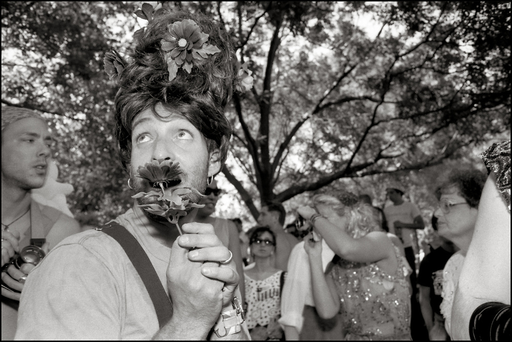 Lee Schy at Wigstock, an annual outdoor drag festival that began in the 1980s in Tompkins Square Park in the East Village of New York City that took place on Labor Day, 1989.