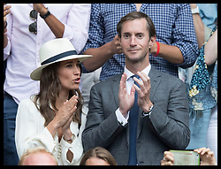 July 14, 2017 - London, London, United Kingdom - Image licensed to i-Images Picture Agency. 14/07/2017. London, United Kingdom. Pippa Middleton and her husband James Mathews celebrate as Roger Federer wins his semi-final match at the Wimbledon Tennis Championships in London.  Picture by Stephen Lock / i-Images (Credit Image: © Stephen Lock/i-Images via ZUMA Press)