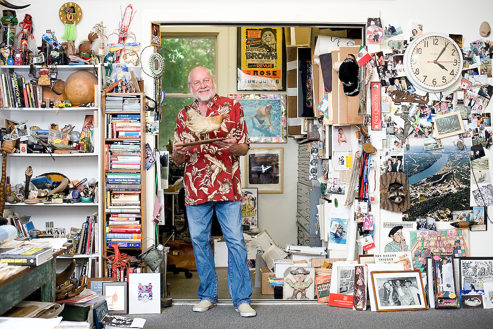 """Bob """"Daddy O"""" Wade is an Austin-based artist has created some of largest folk-art in Texas including the giant boots at NorthStar in San Antonio, the giant Iguana at the Fort Worth Zoo, the musical frogs at Chuys in Houston. Wade is part of an exhibit at Austin's Museum of Art at Laguna Gloria, where artist's have designed a miniature golf course. Wade's #4 hole is called 'Chicken Ranch'."""