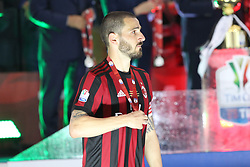 May 9, 2018 - Rome, Lazio, Italy - Leonardo Bonucci (AC Milan) captain of the losing team, receives the silver medal after the final match of Italian Cuo lost against Juventus  at Stadio Olimpico on May 09, 2018 in Rome, Italy. Juventus won 4-0 over Milan. (Credit Image: © Massimiliano Ferraro/NurPhoto via ZUMA Press)