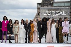 Katherine Langford, Camila Cabello, Aishwarya Rai, Helen Mirren, Aja Naomi King, Amber Heard, Soo Joo Park, Yseult, Nidhi Sunil, Leïla Bekhti, Liya Kebede, Cindy Bruna, Luma Grothe walk the runway during the L'Oreal show as part of Paris Fashion Week Womenswear Spring/Summer 2022 in Paris, France on October 03, 2021. Photo by Aurore Marechal/ABACAPRESS.COM