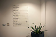 A menu of seminar rooms at a counselling workshop held for employees in Borough, Southwark.