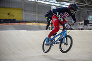 #338 (LARSEN Kamren) USA during practice at the 2019 UCI BMX Supercross World Cup in Manchester, Great Britain