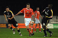 MATTHEW POVER PICTURE                                                +447971 184305<br /> <br /> 11/12/07 .... Blackpool v Cardiff<br />  Cardiff's Joe Ledley and Jimmy Floyd-Hasselbaink close in on Blackpool's Stephen Crainey.
