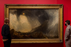 "© Licensed to London News Pictures. 26/10/2020. LONDON, UK. ""Snow Storm/; Hannibal and his Army Crossing the Alps"", 1812, by JMW Turner. Preview of ""Turner's Modern World"", a new landmark exhibition of over 150 works exhibition by JMW Turner at Tate Britain, 28 October to 7 March 2021.  Photo credit: Stephen Chung/LNP"