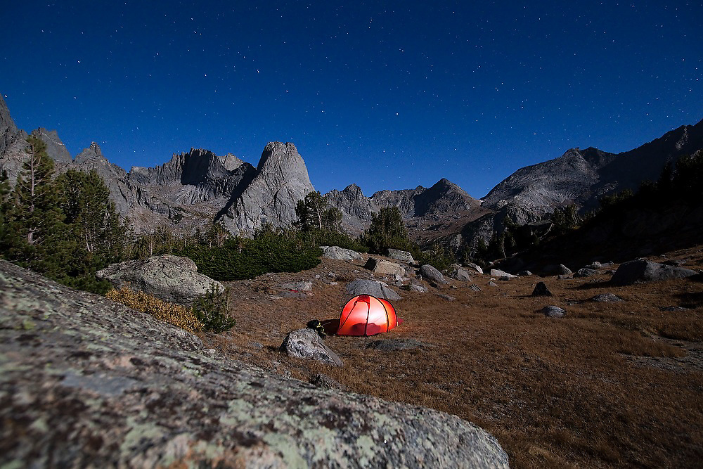 Moonlight illuminates a campsite in the Cirque of the Towers, Popo Agie Wilderness, Wind River Range, Wyoming.