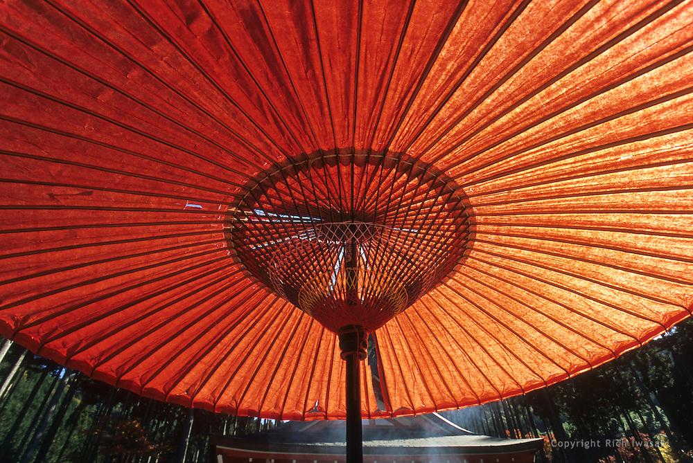 Low angle view of paper umbrella near Yasaka-jinja (shrine), Gion district, Kyoto, Kyoto Prefecture, Japan