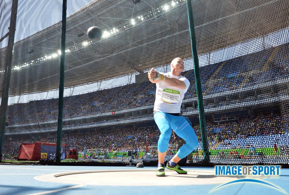 Aug 17, 2016; Rio de Janeiro, Brazil; David Soderberg (FIN) during the men's hammer throw qualifications in the Rio 2016 Summer Olympic Games at Estadio Olimpico Joao Havelange.