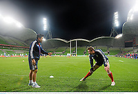 24 June 2013; Tommy Bowe, British & Irish Lions, and physiotherapist Prav Mathema during the captain's run ahead of their match against Melbourne Rebels on Tuesday. British & Irish Lions Tour 2013, Captain's Run, AAMI Park, Olympic Boulevard, Melbourne, Australia. Picture credit: Stephen McCarthy / SPORTSFILE