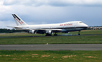 Boeing 747 jumbo jet touches down at Belfast International Airport, N Ireland, to inaugurate a new once-a-week air service between Belfast and New York, called Atlantic Express. 19840068AE1.<br /> <br /> Copyright Image from Victor Patterson, Belfast, UK<br /> <br /> t: +44 28 9066 1296 (from Rep of Ireland 048 9066 1296)<br /> m: +44 7802 353836<br /> e: victorpattersonbelfast@gmail.com<br /> <br /> www.images4media.com<br /> <br /> Please see my full Terms and Conditions of Use at https://www.images4media.com/p/terms-conditions - it is IMPORTANT that you familiarise yourself with them.<br /> <br /> Images used online incur an additional cost. This cost should be agreed in writing in advance. Online images must be visibly watermarked i.e. © Victor Patterson or that of the named photographer within the body of the image. The original metadata must not be deleted from images used online.<br /> <br /> This image is only available for the use of the download recipient i.e. television station, newspaper, magazine, book publisher, etc, and must not be passed on to a third party. It is also downloaded on condition that each and every usage is notified within 7 days to victorpattersonbelfast@gmail.com.<br /> <br /> The right of Victor Patterson (or the named photographer) to be identified as the author is asserted in accordance with The Copyright Designs And Patents Act (1988). All moral rights are asserted.