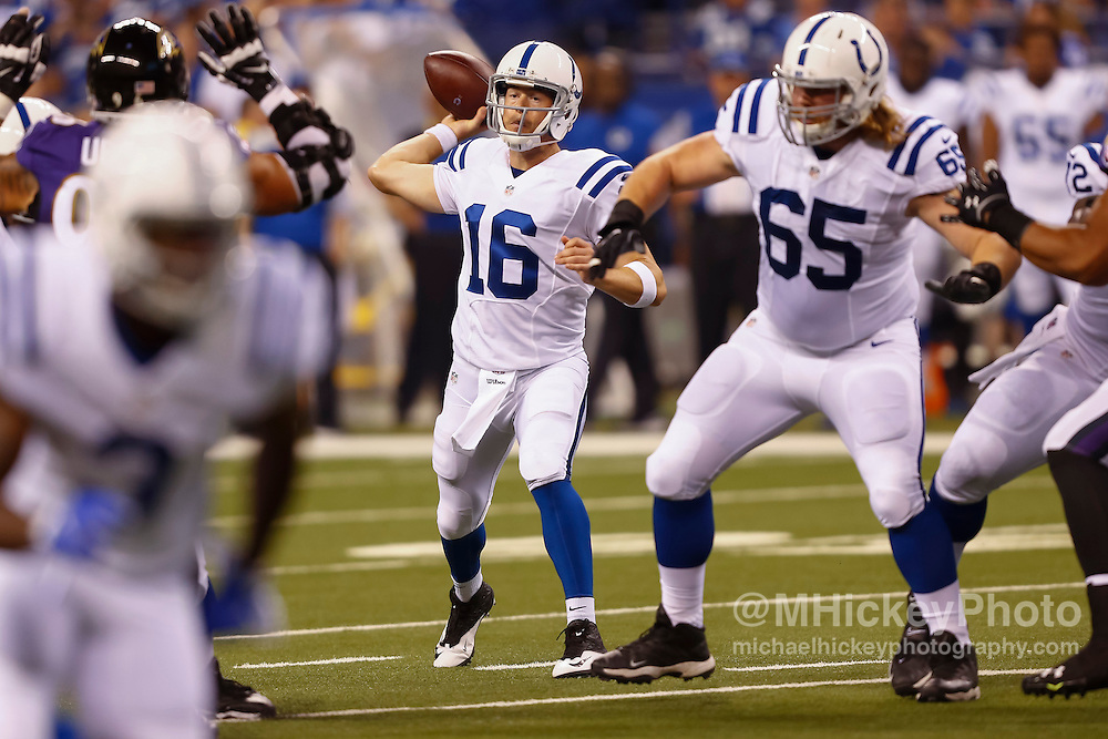 INDIANAPOLIS, IN - AUGUST 20: Scott Tolzien #16 of the Indianapolis Colts throws the ball against the Baltimore Ravens at Lucas Oil Stadium on August 20, 2016 in Indianapolis, Indiana.  (Photo by Michael Hickey/Getty Images) *** Local Caption *** Scott Tolzien