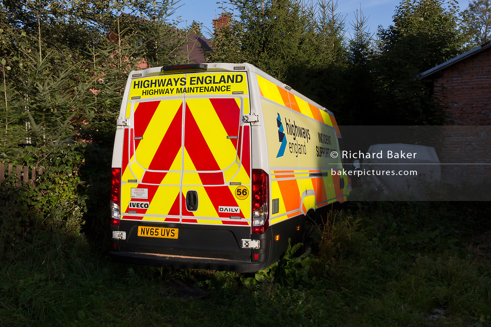 An Incident Support Vehicle with Highways England branding on the side and rear, seen next to a property in the Polish mountain village of Jaworki, on 21st September 2019, in Jaworki, near Szczawnica, Malopolska, Poland.