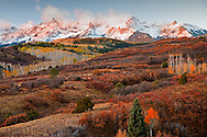 Sneffels Range morning light from Dallas Divide in autumn, Ridgeway, CO, USA