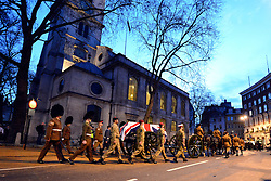 © Licensed to London News Pictures. 15/04/2013. London, UK The gun carriage that will carry the coffin leaves St Clement Danes Church. A full rehearsal of the funeral of former British Conservative Prime Minster Baroness Thatcher takes place in central London. Hundreds of members of the armed forces drawn from all three services took part in the practice in the early hours of 15th April 2013. Photo credit : Stephen Simpson/LNP