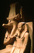 EGYPT, THEBES, LUXOR MUSEUM Amenophis III with Sobek, God of Water