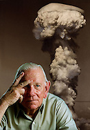 """Charles Donald Albury, co-pilot of the Bockscar. The United States Army Air Forces B-29 bomber dropped the Fat Man nuclear bomb over the Japanese city of Nagasaki, Japan, that ended WWII. """"I saw the flash,"""" said retiree Don Albury, 'I thought, """"My God"""" '."""