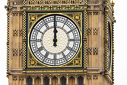 August 21, 2017 - London, UK -  The clock strikes midday as Big Ben's bongs ring out for the final time before repairs are undertaken and the chimes of the clock stopped for health and safety reasons. (Credit Image: © Vickie Flores/London News Pictures via ZUMA Wire)