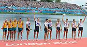 Eton Dorney, Windsor, Great Britain,..2012 London Olympic Regatta, Dorney Lake. Eton Rowing Centre, Berkshire.  Dorney Lake.  ..Men's Fours Medal's AUS M4- Silver Medalist, GBR M4- Gold Medalist and USA M4- Bronze Medalist...12:08:32  Saturday  04/08/2012 [Mandatory Credit: Peter Spurrier/Intersport Images]