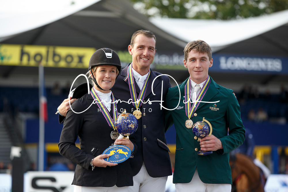 Podium 7 years of age, Wathelet Gregory, Renwick Laura, Eoin Mcmahon <br /> 7 years of age<br /> FEI World Breeding Jumping Championships<br /> Lanaken 2015<br /> © Hippo Foto - Dirk Caremans<br /> 20/09/15