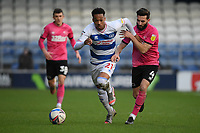 Football - 2020 / 20-21 Sky Bet Championship - Queens Park Rangers vs Derby County - Kiyan Prince Foundation Stadium<br /> <br /> Chris Willock of Queens Park Rangers holds off the challenge from Graeme Shinnie of Derby County.<br /> <br /> COLORSPORT