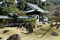 Kaisan-do Tea House - Kodai-ji Temple is located at the foot of Higashiyama Ryozen Mountains in Kyoto. It is officially called Kodaiji Jushozenji Temple and was established in 1606.  Tokugawa Ieyasu - the first Tokugawa shogun - financed the construction of the temple resulting in its magnificent appearance.  Many of its buildings and tea houses.  Kodaiji's garden is said to have been designed by the landscape garden designer Kobori Enshu. The garden is designated by the Japanese Government as a historical site and a place of scenic beauty.  Kodaiji south garden is a karesansui or dry rock garden that features raked gravel punctuated by conical formations and surrounded by borders of moss and stone.
