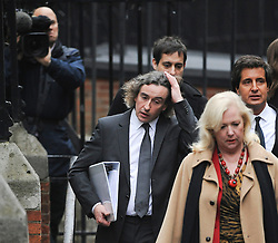 © London News Pictures. 22/11/2011. London, UK.  Comedian STEVE COOGAN, DAVID SHERBORNE  QC and Former business adviser of supermodel Elle Macpherson, MARY-ELLEN FIELD arriving at The Royal Courts of Justice today (22/11/2011) to give evidence at the Leveson Inquiry into press standards. The inquiry is being lead by Lord Justice Leveson and is looking into the culture, and practice of the UK press. The Leveson inquiry, which may take a year or more to complete, comes after The News of The World Newspaper was closed following a phone hacking scandal. Photo credit : Ben Cawthra/LNP