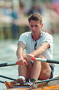 Henley. United Kingdom.  GBR LM1X, Peter HAINING, competing in the Diamond Sculls Challenge and the FISA World Cup event. Men and Women's single Sculls at the 1995 Henley Royal Regatta. Henley Reach, England.<br /> <br /> {Mandatory Credit: Peter SPURRIER/Intersport Images]