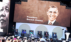 17/07/2017 <br /> Former President of America Barack Obama  is seen delievering Lecture at the the Nelson Mandela Annual Lecture at Wanderers Stadium, Johannesburg.<br /> Picture: Nhlanhla Phillips/African News Agency/ANA