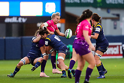 Courtney Holtkamp of Loughborough Lightning is double-tackled by the Warriors defence - Mandatory by-line: Nick Browning/JMP - 14/11/2020 - RUGBY - Sixways Stadium - Worcester, England - Worcester Warriors Women v Loughborough Lightning - Allianz Premier 15s