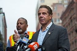 September 18, 2016 - New York, NY, United States - New York State Governor Andrew Cuomo held a press conference at the intersection of Fifth Avenue and 23rd Street near the site of the bomb explosion that wounded 29 on September 17, offering remarks on the State's response to the incident. (Credit Image: © Albin Lohr-Jones/Pacific Press via ZUMA Wire)