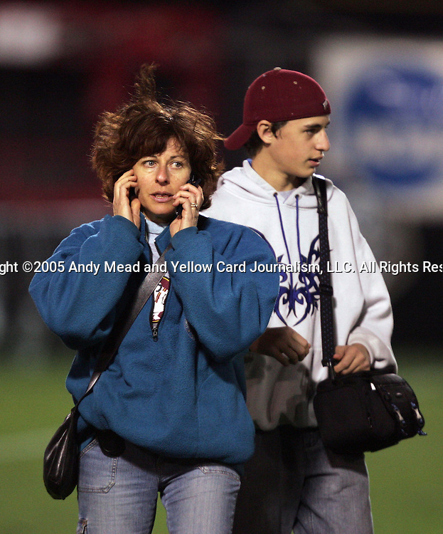 Melissa Samokishyn's (not pictured) mother and brother wait to find out the extent of her injuries after a collision on the field late in the game. The UCLA Bruins defeated the Florida State University Seminoles 4-0 at Aggie Soccer Stadium in College Station, Texas, Friday, December 2, 2005.
