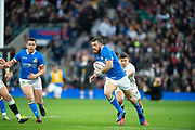 Twickenham, United Kingdom, Saturday, 9th March 2019,  England's Ben YOUNGS, moves to tackle, Italy's, Jayden HAYWARD, during the Guinness Six Nations match, England vs Italy,  at the RFU Rugby, Stadium,© Peter Spurrier