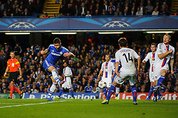 Chelsea Defender Gary Cahill (ENG) shoots during the first half of the match - Photo mandatory by-line: Rogan Thomson/JMP - Tel: 07966 386802 - 18/09/2013 - SPORT - FOOTBALL - Stamford Bridge, London - Chelsea v FC Basel - UEFA Champions League Group E
