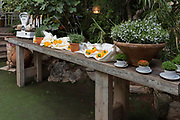Buffet table setup in a garden